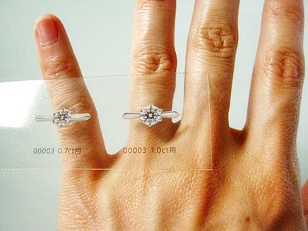 1カラットのダイヤモンドリングを付けたイメージ画像、写真