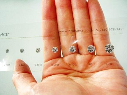 ダイヤモンドの宝石のみ、ルースの大きさを確認できる