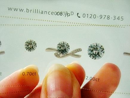 ダイヤモンドの宝石の大きさを変えてみることができる