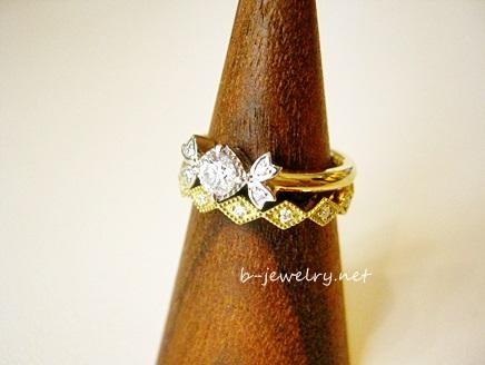 アンティークモダンな婚約指輪デザインです。