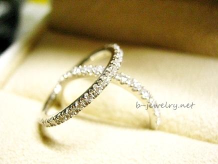高品質ダイヤモンドのハーフエタニティダイヤモンドリング。