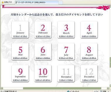 バースデーダイヤモンド選びのカレンダー