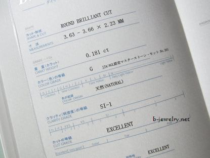 婚約指輪のダイヤモンド鑑定書の記載例